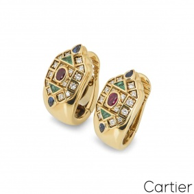 Cartier 18k Yellow Gold Multi Stone Byzantine Earrings
